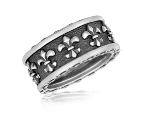 Fleur De Lis Style Men's Ring in Sterling Silver