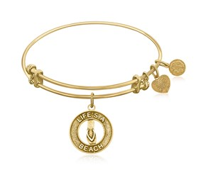 Expandable Yellow Tone Brass Bangle with Life's A Beach Symbol