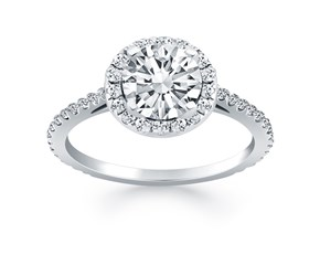 Diamond Halo Cathedral Engagement Mounting in 14K White Gold
