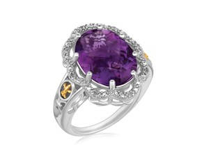 Ornate Oval Amethyst and Diamond Embellished Fleur De Lis Motif Ring in 18k Yellow Gold and Sterling Silver (.03 cttw)