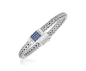 Weave Motif Bracelet with Blue Sapphire Accents in Sterling Silver