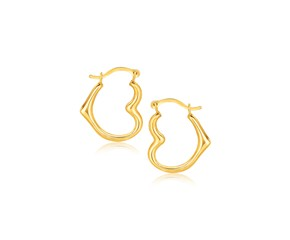 Heart Shaped Hoop Earrings in 10k Yellow Gold