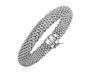 Rounded Motif Mesh Bracelet in Rhodium Plated Sterling Silver