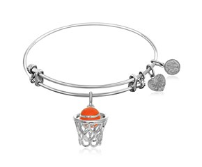 Expandable White Tone Brass Bangle with Orange Enamel Basketball Hoop Symbol