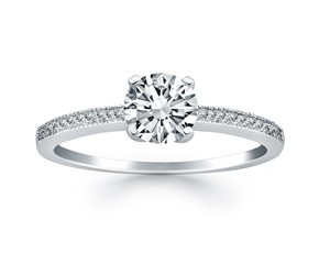 Classic Diamond Pave Solitaire Engagement Ring Mounting in 14k White Gold