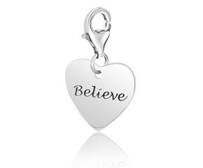 Heart BELIEVE Charm in Sterling Silver