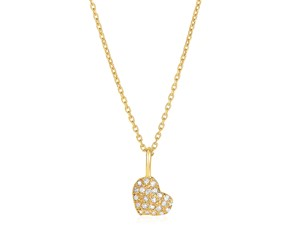 14kt Yellow Gold 16 inch Necklace with Gold and Diamond Heart Pendant (1/10 cttw)