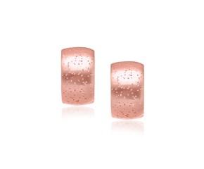 Diamond Dust Snuggable Earrings in Rose Tone Sterling Silver