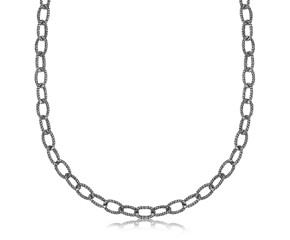 Textured Link Pendant Chain in Oxidized or Rhodium Plated Sterling Silver