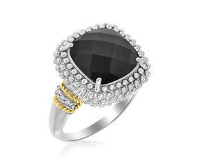 Cushion Black Onyx and Diamond Popcorn Ring in 18K Yellow Gold and Sterling Silver (.05ct tw)