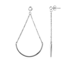 Polished Semicircle and Chain Drop Earrings in Sterling Silver