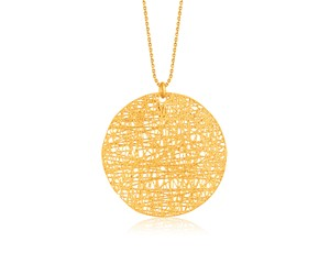 Freeform Weave Circle Pendant in 14k Yellow Gold