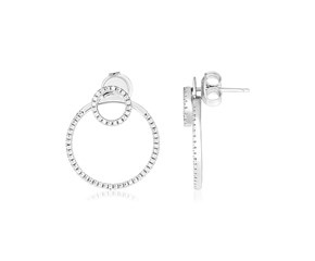 Sterling Silver Double Circle Earrings with Cubic Zirconias