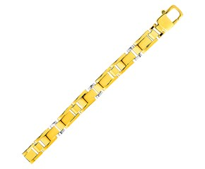 Mens Rectangular Link Bracelet in 14k Two Tone Gold