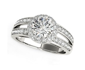 14k White Gold Round Split Shank Style Diamond Engagement Ring (1 1/2 cttw)