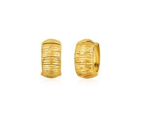 14k Yellow Gold Diamond Cut Hoop Design Earrings