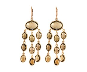 Smokey Quartz Chandelier Earrings with Yellow Finish in Sterling Silver