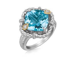 Cushion Blue Topaz and Diamond Accented Rope Design Ring in 18k Yellow Gold and Sterling Silver