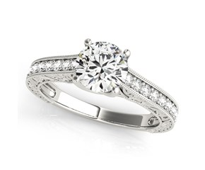 14k White Gold Trellis Antique Style Round Diamond Engagement Ring (1 1/4 cttw)