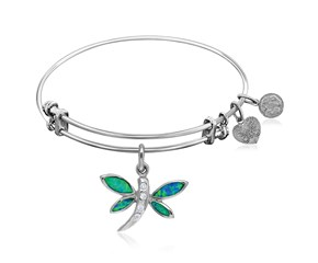 Expandable White Tone Brass Bangle with Dragonfly Symbol with Opal