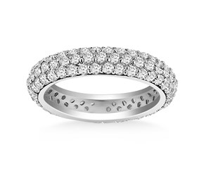Domed Pave Set Round Diamond Eternity Ring in 14k White Gold