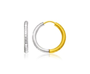 Hammered Hinge Tube Hoop Earrings in 14k Two-Tone Gold