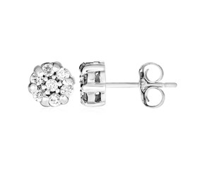 14k White Gold Petite Post Earrings with Diamonds