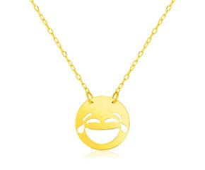 14k Yellow Gold Necklace with LOL Emoji Symbol