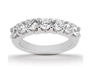 Diamond Shared U Prong Setting Wedding Ring Band 14k White Gold
