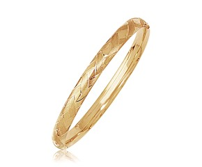 Fancy Woven Design Domed Bangle in 14k Yellow Gold