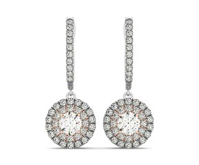 14k White And Rose Gold Drop Diamond Earrings with a Double Round Halo Design (3/4 cttw)