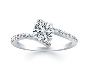 Open Shank Bypass Diamond Engagement Ring in 14k White Gold