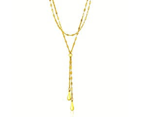 Teardrop Lariat Fancy Double Strand Necklace in 14K Yellow Gold