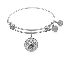 Expandable White Tone Brass Bangle with Paw Symbol