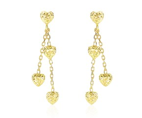 Diamond Cut Puffed Heart Two-Row Earrings in 14k Yellow Gold