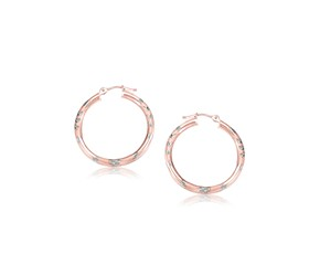 Diamond Cut Hoop Earrings in 14k Rose Gold (25mm Diameter)