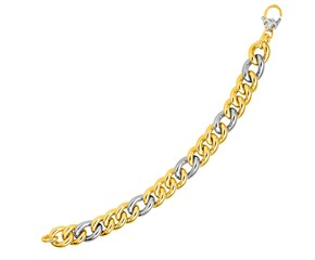 14k Two-Tone Yellow and White Gold Figaro Style Link Bracelet