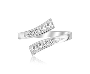 Cubic Zirconia Studded Overlap Style Toe Ring in Rhodium Finished Sterling Silver