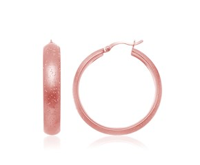Diamond Dust Texture Round Hoop Earrings in Rose Tone Sterling Silver