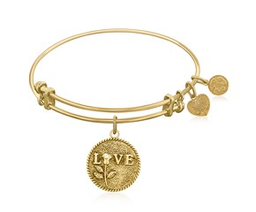 Expandable Yellow Tone Brass Bangle with Love Special Message Symbol