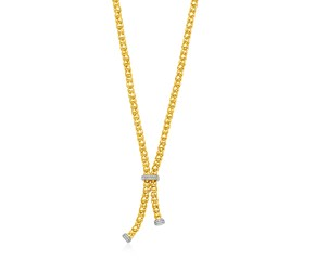14k Two Tone Gold Spherical Link Lariat Necklace with Diamonds