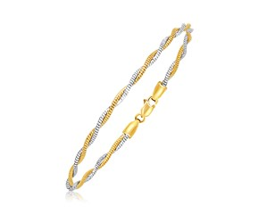 Double Strand Braided Mirror Spring Bracelet in 14k Two-Tone Gold