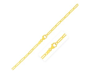 14K Yellow Gold Paperclip Bracelet (2.5mm)