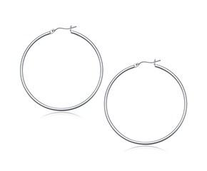 Classic Hoop Earrings in 14k White Gold (50mm Diameter) (2.0mm)