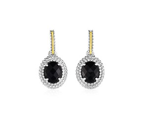 Oval Onyx Earrings in 18K Yellow Gold & Sterling Silver