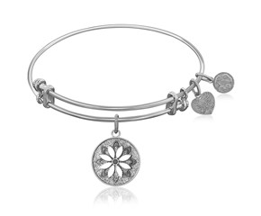 Expandable White Tone Brass Bangle with Enamel Flower Symbol