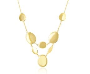Tiered Necklace with Flat Oval Sections in 14K Yellow Gold
