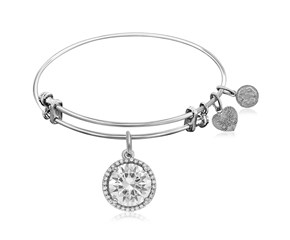 Expandable White Tone Brass Bangle with Cubic Zirconia April Birthstone