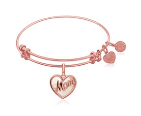 Expandable Pink Tone Brass Bangle with Mom and Mother of Pearl
