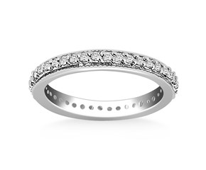 Milgrained Round Cut Diamond Eternity Ring in 14K White Gold